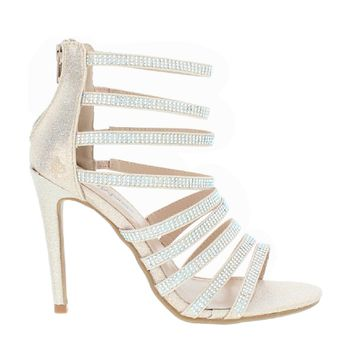 Strappy Rhinestone Party Sandal (CHAMPAGNE)