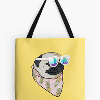 'Pug Summer Time' Bolsa de tela by Lostanaw