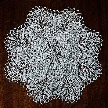 Knitted doily Round lace napkin Knitted white doily Old grandma's house Retro decoration Table top decor Handmade dreamcatcher Dream catcher