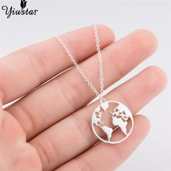 yiustar Hot Sale World Map Necklace Earth Day Gift For Best Friends  Earth map wanderlust necklace collares largos de moda 2018