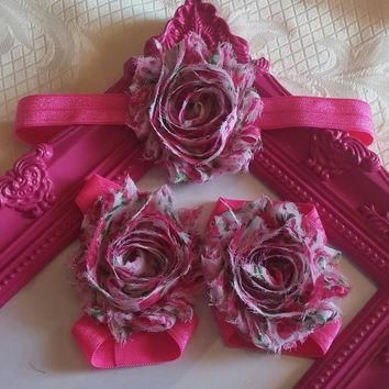 Pink Paisley Flowers Headband and Barefoot Sandal Set!