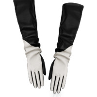 """DIOR CONTRAST """"Dior Bar"""" long gloves in black leather"""
