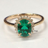 Oval Emerald Engagement Ring  Diamond Halo 14K Rose Gold,6x8mm