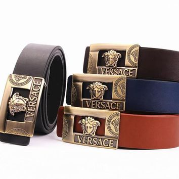 """Versace"" Unisex Fashion Classic Multicolor  Metal Plate Buckle Belt"