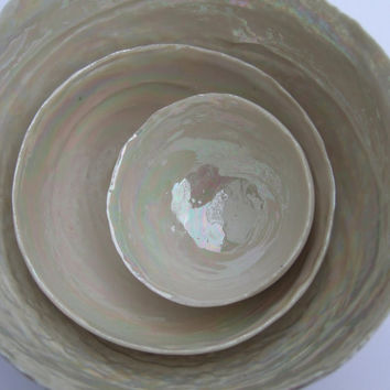 Three Nesting Pearly Porcelain Decorative Bowls - Home Decor - Birthday Present Idea
