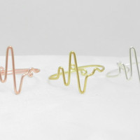 Heartbeat Ring--Life ring - Heart monitor ring - ekg ring--Wire Wrap Ring, Adjustable wire ring- Cool, Weird Gift for Best Friend