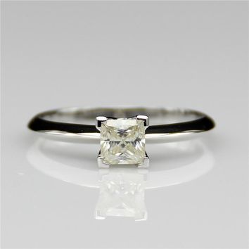 LASAMERO Princess Cut 1ct Sqaure Solitaire 14k White Gold Engagement Ring Lab Grown  Moissanites Wedding Ring