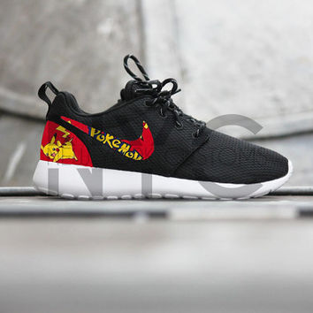 Nike Roshe Run Black Pokemon Pikachu Custom Men & Womens