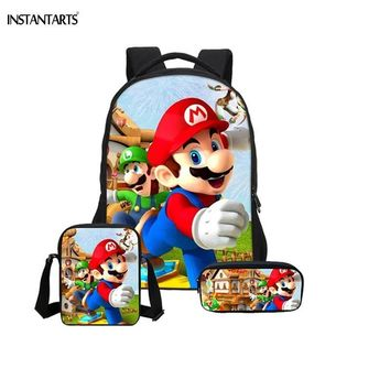 Super Mario party nes switch INSTANTARTS Game  Bros Printing Boys Girls School Bags Primary Students Cartoon Backpacks Children 3PCS Set Bookbags AT_80_8