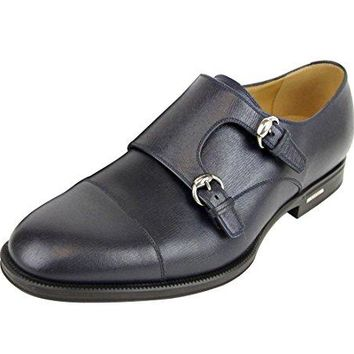 Gucci Men's Navy Blue Leather Double Horsebit Buckle Loafer Shoes 322478 4009