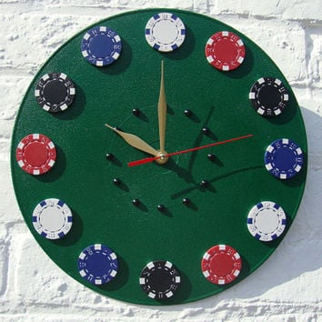 Wall Clock Casino Green Table, home and living, modern wall clocks, home decor, green wall clock, unique wall clocks, decorative wall clocks