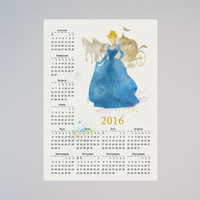 Cinderella Princess Disney Calendar Personalized 2016 Watercolor Picture Print Save the date gift New Year Birthday present