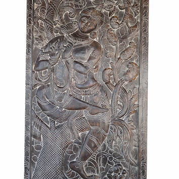 Yoga Studio Door Panel Hand Carved  Vintage Fluting Krishna under Kadambari Wall Decor Sculpture Mediation Room