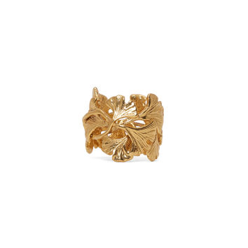 Aurlie Bidermann Gold Plated Ginkgo Leaves Ring