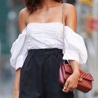 Summer Newest Women U Collar Pure Color Backless Off Shoulder Top T-Shirt White