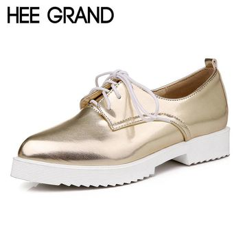 HEE GRAND Oxfords Gold Silver Low Heels Shoes Woman British Style Creepers Patent Leather Pumps Casual Women Shoes XWD4206