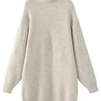 White High Neck Chunky Long Sleeve Knit Dress