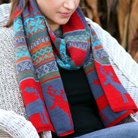 Boho Chunky Scarf- Christmas , Reindeer, Winter Scarf, Navy, Red Scarf , Knitted, Wood Buttons, Leather, Red ,Muffle ,Shawl Green , Yellow