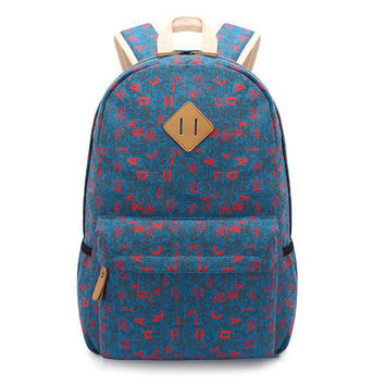 Korean Style Bags Canvas Backpack Alphabet Print Travel Bags [6304977540]