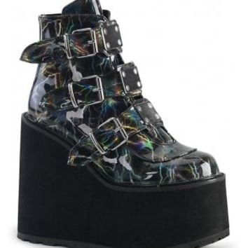 Demonia Swing 105 Lightning Hologram Wedge Platform Boot | Attitude Clothing