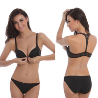 New Women Bra Sets Front Closure Sexy Bra Set Sexy Lace Racer Back Push Up with Briefs Underwear Bra Set Lingerie Intimates