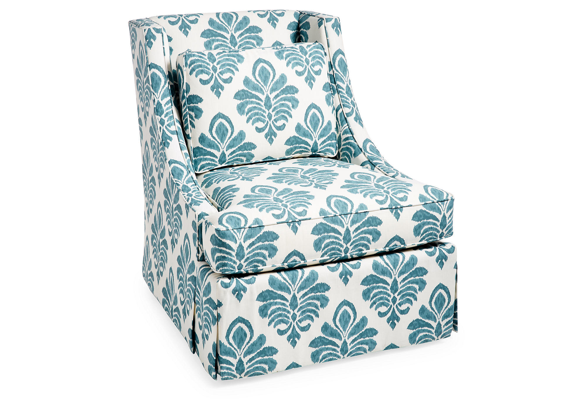 Cheryl swivel chair teal damask accent from one kings lane - Dark teal accent chair ...