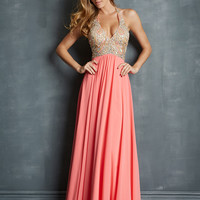 Halter Beaded Top Formal Prom Dress Night Moves 7082