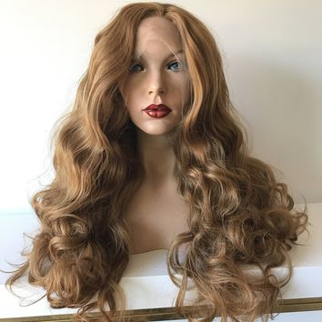 Dark Blond SWISS Human Hair Blend Multi Parting loose curls lace front wig 24' 41716