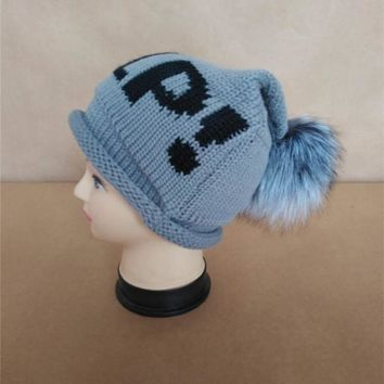 raccoon fur ball cap pom poms winter  Letters Help hat for women girl 's hat knitted beanies cap brand new thick female cap