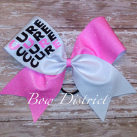 "3"" Breast Cancer Awareness Neon Pink and White Cheer Bow"