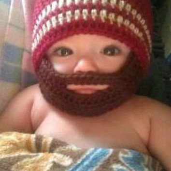 Crochet Baby Boy Beanie with Beard Hat - 3 months to 10 years - Autumn Red and Bone with Chocolate Beard - MADE TO ORDER