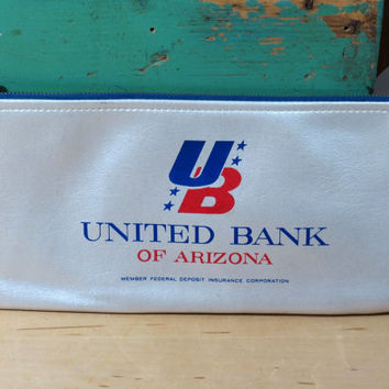 Vintage Zippered Bank Bag . United Bank of Arizona . Vinyl Money Pouch . Defunct Bank Collectible