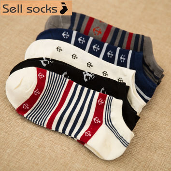 2016 new summer Stripes Sailor anchor man Casual ankle cotton socks men boat sock slippers harajuku EUR39-44