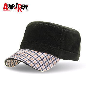 [AUBREYRENE] 2017 Winter Flat Military Hat Sailor Hats for Men Flat Captain Caps Z-3167