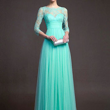 Upper Lace Long Sleeve Chiffon Maxi Dress