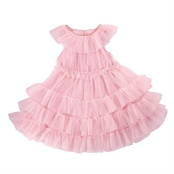 MUD PIE BLUSH MESH TIERED DRESS