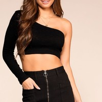 Cut It Out Black Asymmetrical Crop Top
