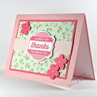 Great Big Thanks Handmade Card With Floral Patterns Pinks Reds Greens