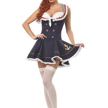 Sexy Nautical Doll Pinup Costume (2X,Navy)