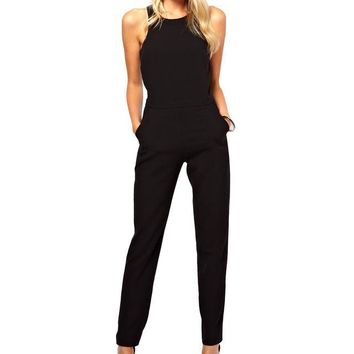 Womens rompers jumpsuit casual solid bodysuit sleeveless crew neck long playsuits plus size