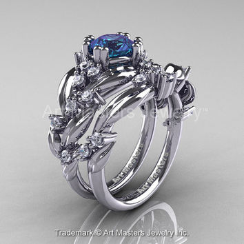 Nature Classic 14K White Gold 1.0 Ct Alexandrite Diamond Leaf and Vine Engagement Ring Wedding Band Set R340S-14KWGDAL