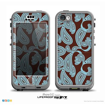 The Blue and Brown Paisley Pattern V4 Skin for the iPhone 5c nüüd LifeProof Case