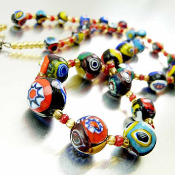 Vintage 60s Italian Venetian Murano Millefiori Graduating Round Art Glass Bead Necklace Golds Blues Yellows Reds Thousand Flowers Cane Beads