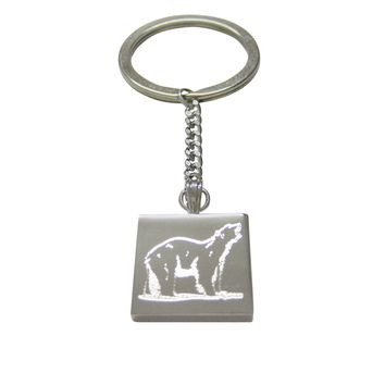 Silver Toned Etched Polar Bear Keychain