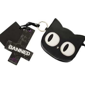 Banned Emo Punk Kawaii Gothic Lolita Big Eye Black Cat Face Coin Purse