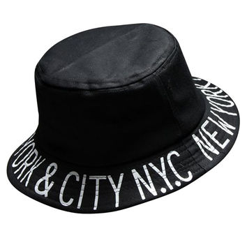 Black New York City Print Flat Top Hat