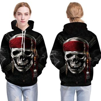 Gothic Pirate Skull Hooded Sweatshirts 3D Print Long Sleeve