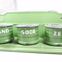 Vintage Laundry Soap organizer / Home decor / Enamel / Industrial / Kitchen / Zand Soda Zeep / Use as a Planter / Dutch utility rack