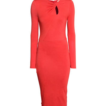 H&M - Long-sleeved Jersey Dress - Red - Ladies