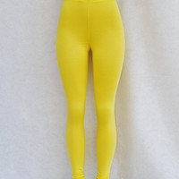 Yellow Knit Leggings Organic Womens Clothing Pants Eco Clothing